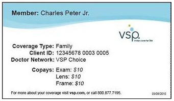 Sample vision insurance card