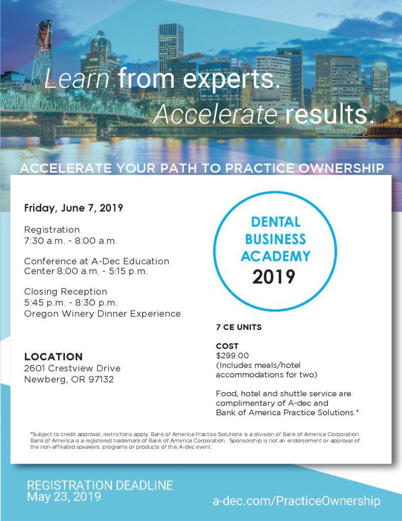 Dental Business Academy June 2019 Flyer